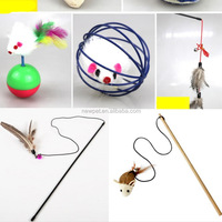 Custom made hot selling kitten toys for cat rod, feather bell cat toy tube