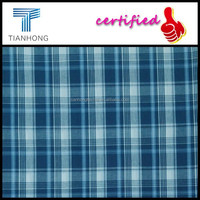 Nantong custom 100 cotton yarn dyed shirt fabric/blue color plaid check collection fabric