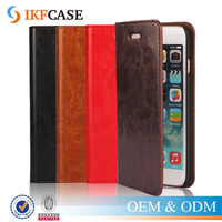Luxury Genuine Crazy Horse Oil Skin Wrinkles Leather Wallet Case for iphone 6s