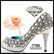 S4229 wedding shoes 2013 latest party shoes dress shoes hand-made crystal rhinestone shining ladies pumps high heels