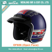 2018 New good quality halley beautiful motorcycle accessory half face helmet double visir helmets OF606 (Open Face)