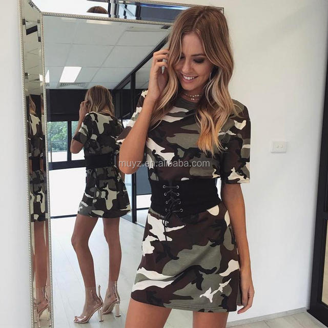 L1044A 2017 Woman Camouflage Floral Printed Dress Short Sleeve Casual Dresses