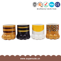 Cool gift leopard print cat paw design ceramic cup designs