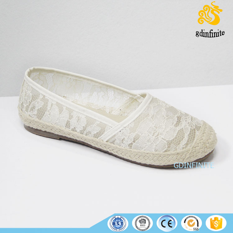 Custom Women Smart alpargatas casual espadrille slip on lace fabric fit shoes