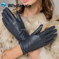 Women Fashion Blue Dress Gloves Leather