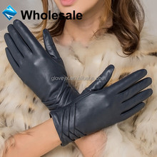 Women Fashion Blue Dress Gloves Leather Product