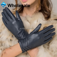wholesale women fashion blue dress gloves leather product