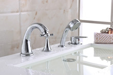 Widespread 4PCS Brass Bathroom Bath Roman Tub Filler Faucet with Hand Shower Set
