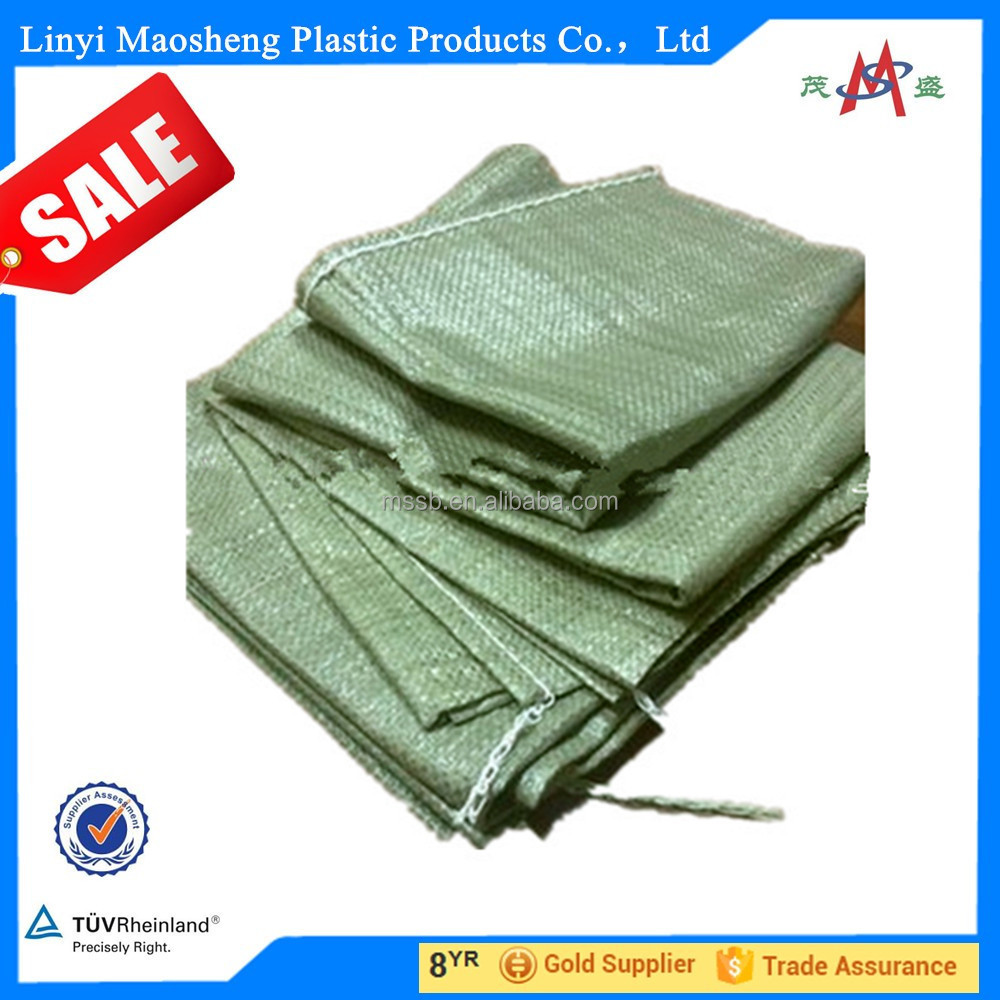 high quality low price cement Russian building garbage green woven PP sand bag/High quality pp woven white 100% recycled sand ba