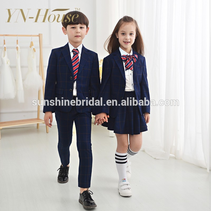 Custom Primary girls school uniform skirts with dress shirts