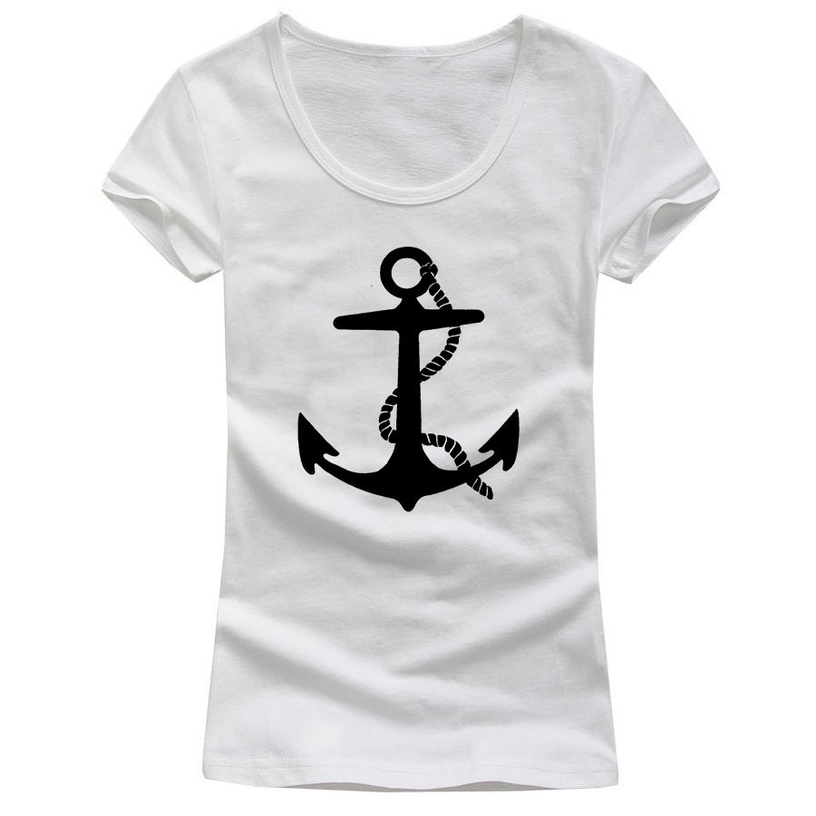 Design t shirt girl -  Personalized Sexy Low Cut Logo Design Women Anchor Bear T Shirts Slim Fit Scoop