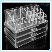 Clear acrylic make up organiser display cosmetic box