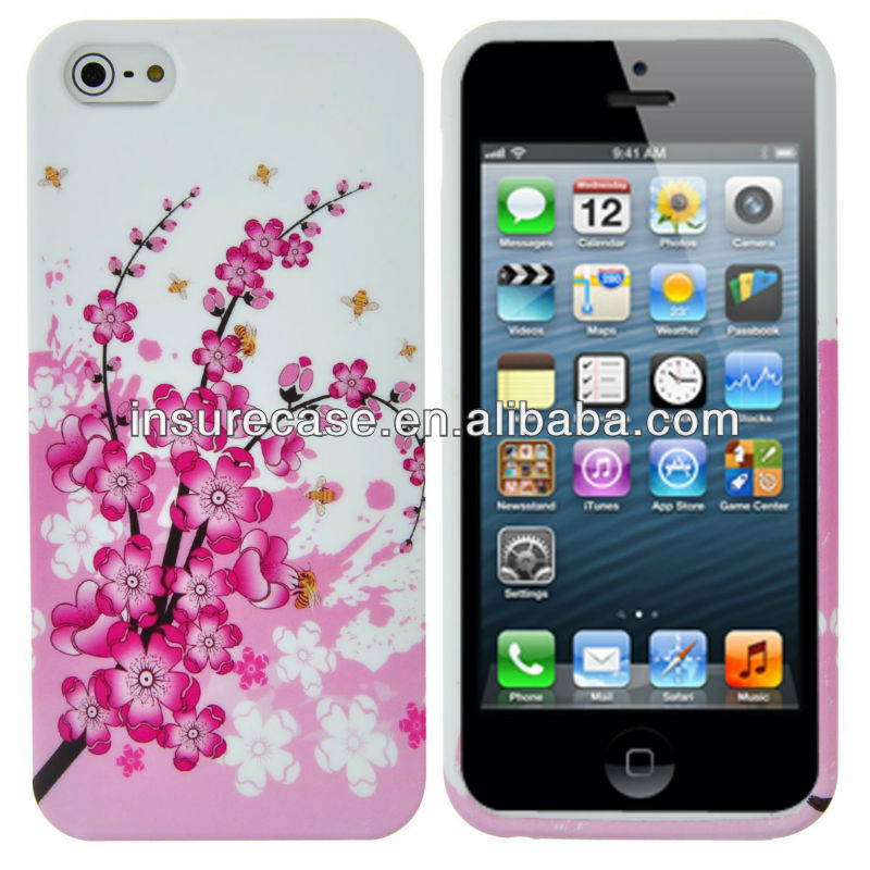 Pink Wintersweet Flower Print TPU Soft Design Case For iPhone 5 5G 5th