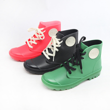 2016 new styles girls ankle high lace up waterproof wellies rain boots rain shoes wellington boots