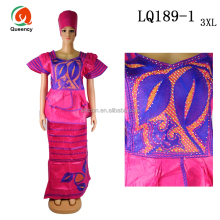 LQ189 Queency Fushia Kimkhab Jacquard Brocade Kitenge Dress DEsigns for African Ladies Wear
