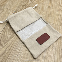 Jute Burlap Gift Pouch, Jute Drawstring Bag With Transparent PVC Window
