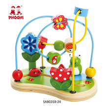 Children play maze game Wooden bead maze Educational toys Wooden string beads toy