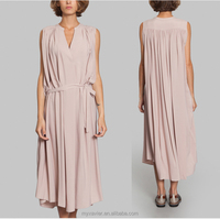 new model casual silk wrap dress loose cut with belt on the waist gathers on the shoulders and at back latest dress designs