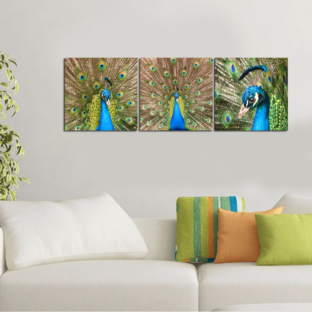 Peacock 3 Panel Modern Giclee Canvas Print Custom Pictures Printing Wall Art Home Decor triptych Peacock Canvas Art Drop-ship
