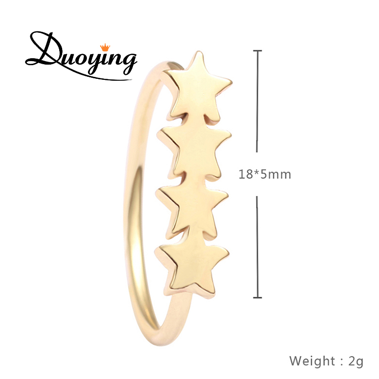 New style low cost Four stars brass Ring