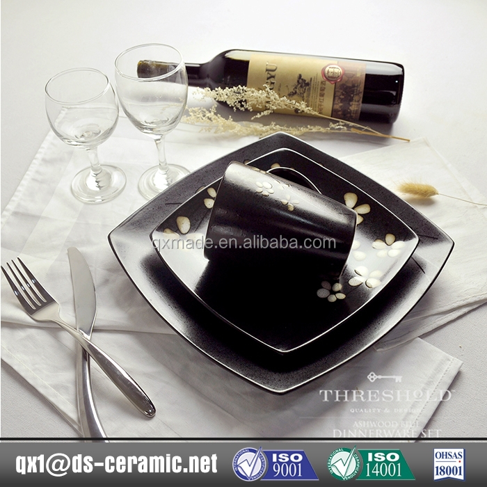Low Cost High Quality black square plates dinnerware sets disposable