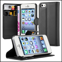 Premium Wallet Leather Moblie Phone Case Cover with Card Slots for Apple iPhone 5 5s