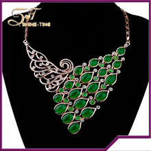 2016 green gemstone pendant peacock necklace for sale
