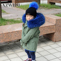 CX-G-C-09A Cheap Blue Inner Real Raccoon Fur Collar Kids Bomber Jackets