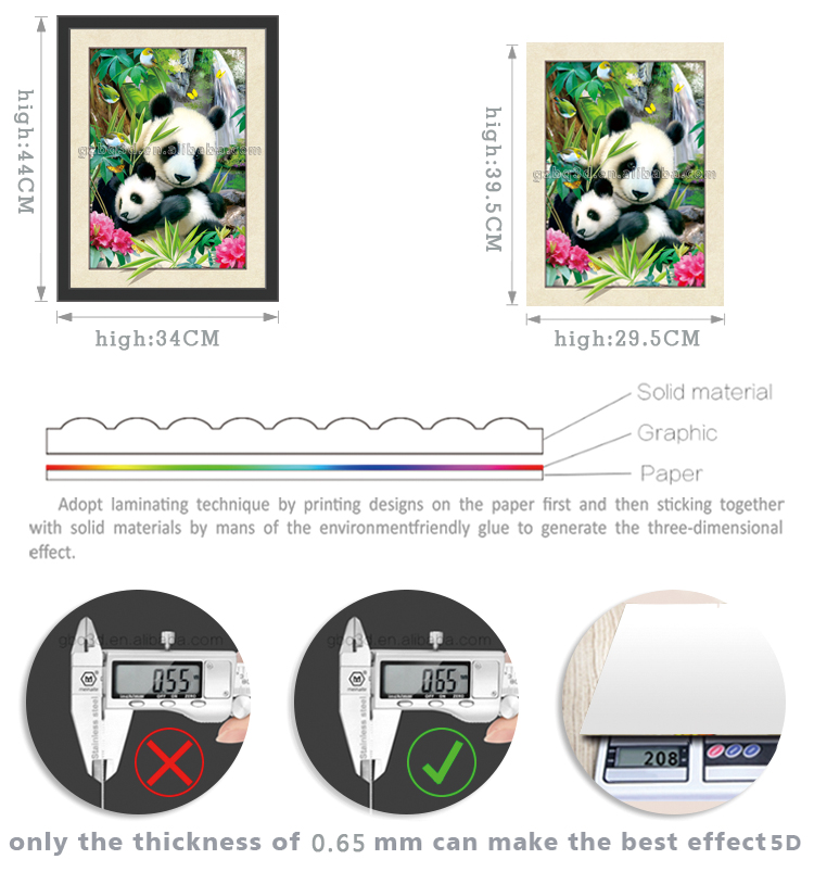 Bella Panda Lenticolare 3D pictures, pittura 3D di animale, decorazione domestica