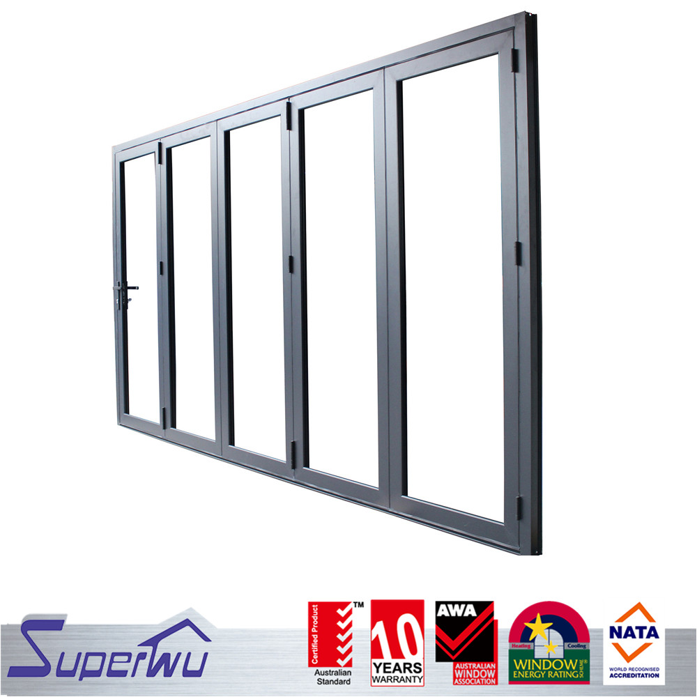 European style commercial system aluminum temporary glass foldable glass folding door