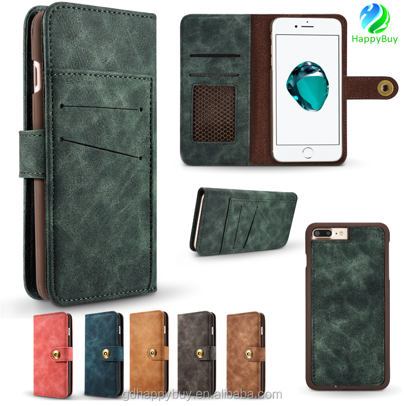 Factory price 2 in1 flip leather phone case for iphone 7 wallet case for iphone 7 plus cover