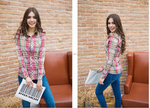 New style trendy tops plaid design cotton big check shirts for girls