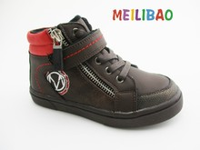 newest design cool boys lace autumn winter PU ankle boots for children