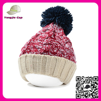 High quality hip hop Crochet Winter Ski Knitted Hat custom slouchy knitted pom beanie hat with pom pom