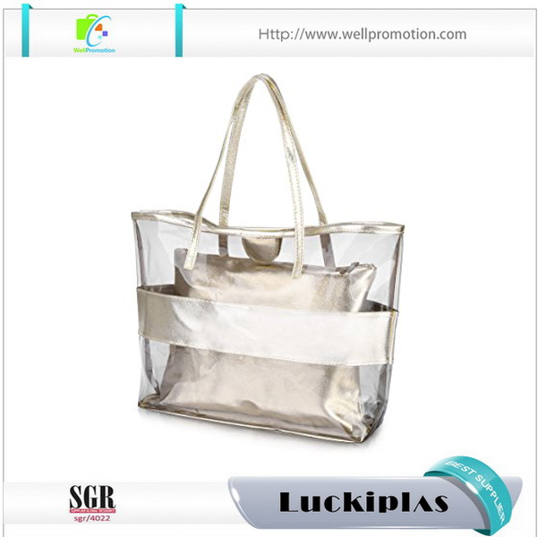 Stylish transparent PVC PU clear tote bags for women ,beach tote bag set