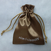 8cm x 12cm Custom Brown Satin Jewelry Bag with Drawstring Screen Printing Logo