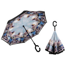 Reversible Rain Umbrella Inverted for Car , Smart Umbrella Designed Printed Inside , UV Protection