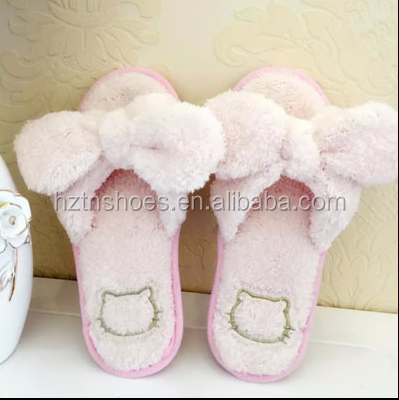 Ladies Sweet Pink Bow Fur Indoor Slipper Fancy Terry Cloth Hello Kitty Shoes