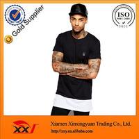 fashion brand urban t shirts wholesale men hip hop t shirts with contrast panel men's dress zipper t shirt