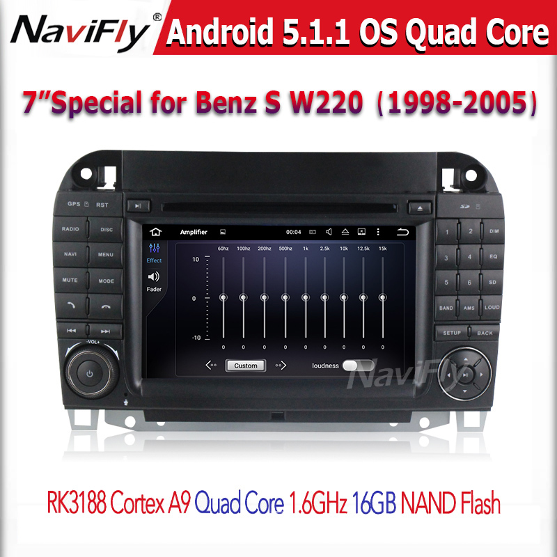 Android 5.1.1 1.6GHZ CPU Quad core car audio video player for CL-W215 S W220 S280 S420 S430 car dvd 1024*600 pixel