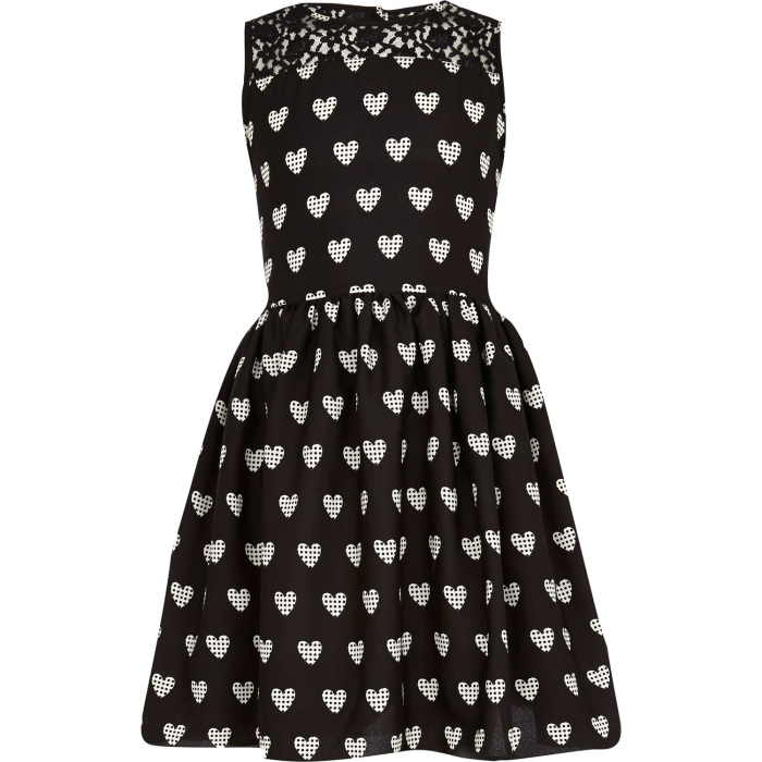 Chinese Clothing Manufacturers Baby Girls Black Heart Print Prom Dress