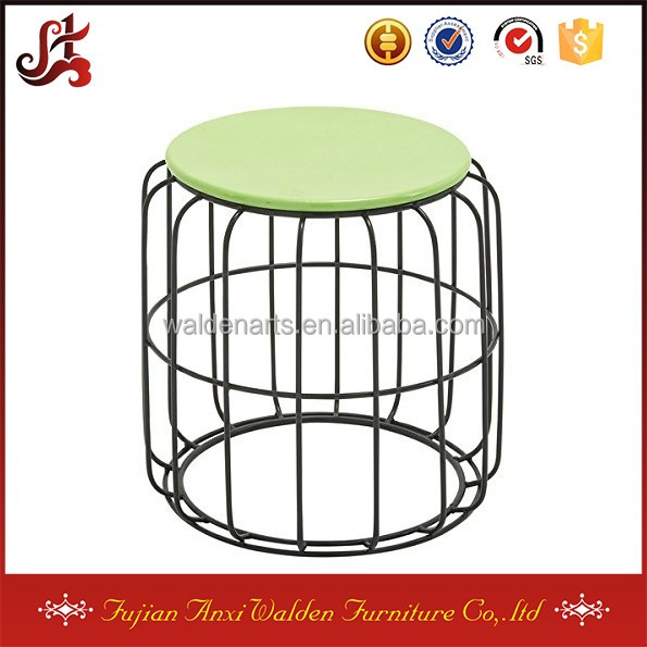 Round Metal Wire Green Top Coffe Table