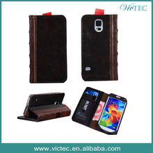 Retro Book PU Leather Wallet Case Skin for Samsung Galaxy S5 I9600