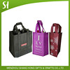 black reusable non woven wine bottle bag/big non woven polypropylene tote bag