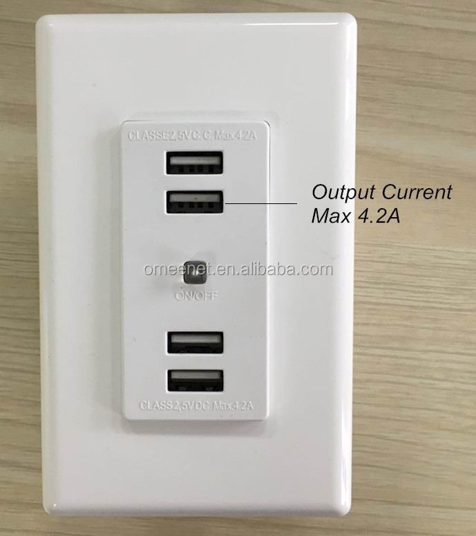 4 USB port 4.2 amp output current wall mounted USB charger socket