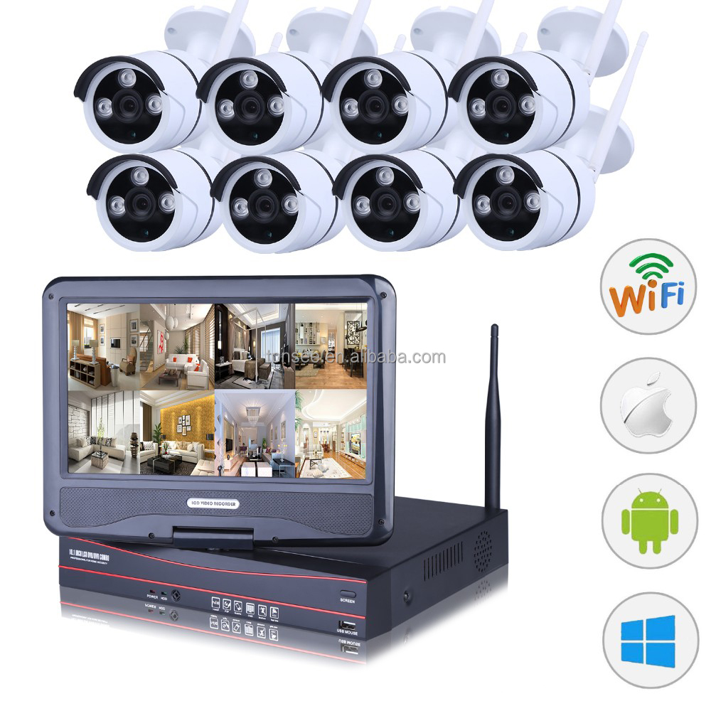 China Top 10 10.1 inch lcd monitor 8CH 1080P wireless cctv camera kit with NVR for factory