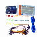UNO R3 plus breadboard 400 point and LEDs with battery clip Starter Kit