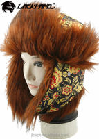 Earflap winter Russian custom trapper hat with faux fur plush fabric
