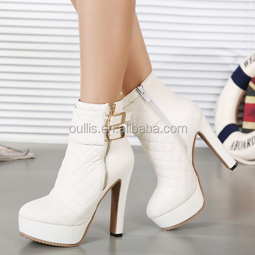 high heel boots white elegant styles newest in 2014 PQ3198