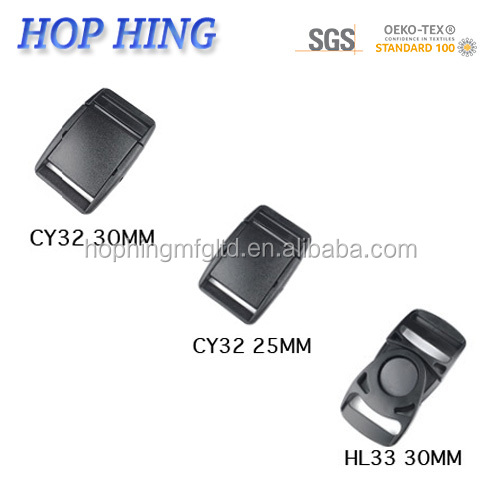 HOP HING plastic backpack buckle/ tape adjuster buckle /tape adjustable sliding buckle for back pack
